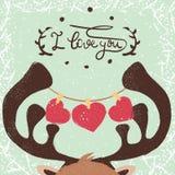 Deer illustration. Love and heart. royalty free illustration