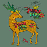 Deer Illustration With Old School Tattoo Style. Vintage Vector Hand Drawn Art Graphic Element. Stock Photos