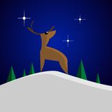 Deer illustration. Pretty illustration deer in the snowy forest Royalty Free Stock Photos