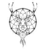 Deer indian warrior, animal hand drawn illustration, native american poster.  Hand draw vector illustration Stock Photo