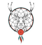 Deer indian warrior, animal hand drawn illustration, native american poster.  Hand draw vector illustration Stock Photography