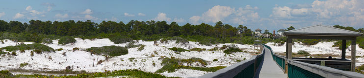 Deer Lake Coastal Dunes - Panoramic. A walkway leads from Deer Lake State Park to the shoreline. Deer Lake shares its name with the coastal dune lake within its Royalty Free Stock Images