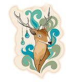Deer with lamps on horns illustration Royalty Free Stock Photography