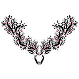 Deer with large horns with trees and fruits.  Stock Photography