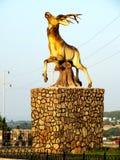 Deer. Large Deer sculpture on rock Stock Photo