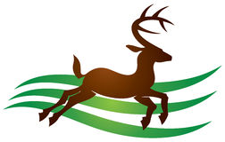 Deer Logo. A logo icon of an isolated stag or deer with antlers stock illustration