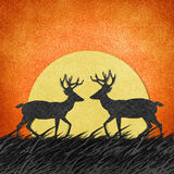 Deer made from recycled paper craft background Royalty Free Stock Photography