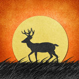 Deer made from recycled paper craft background Royalty Free Stock Image