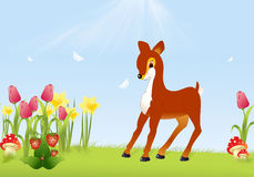 Deer on a meadow. Illustration of sunny nature background with a deer on a meadow Royalty Free Stock Photos