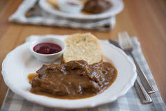 Deer meat in wine sauce Royalty Free Stock Images