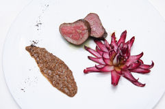 Deer medium rare with radicchio Royalty Free Stock Photography
