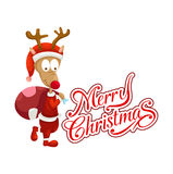 Deer and merry christmas typography vector Royalty Free Stock Photography