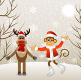 Deer and monkey Royalty Free Stock Photo