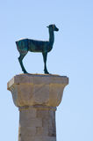 Deer monument in port of Rhodes, Greece Royalty Free Stock Photo
