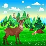 Deer in mountain landscape. vector illustration