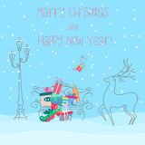 Deer near bench full of presents gifts. Happy new year 2017 greeting card or poster design. Christmas illustration. Deer near bench full of presents gifts Royalty Free Stock Photos