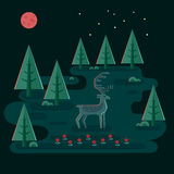 Deer In Night Forest Royalty Free Stock Photography