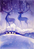 Deer. On night ,winter sky.Picture created with watercolors Royalty Free Stock Image