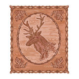 Deer and oak woodcarving hunting theme vintage vector Stock Images
