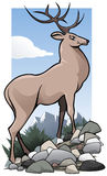 Deer oh my dear. Illustration of a cute deer in a mountain environment Stock Photography