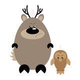Deer and Owl Angry. Funny cartoon angry deer and his owl friend Royalty Free Stock Photos