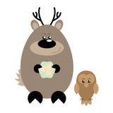 Deer and Owl Happy. Funny cartoon happy deer and his owl friend Stock Photos