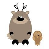 Deer and Owl Sad. Funny cartoon sad deer and his owl friend Stock Images