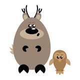 Deer and Owl Surprised. Funny cartoon surprised deer and his owl friend Royalty Free Stock Images