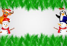 Deer,penguin and snowman with blank sign Stock Photo