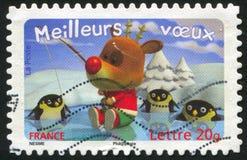 Deer and penguins. FRANCE - CIRCA 2007: stamp printed by France, shows deer and penguins, circa 2007 stock image