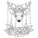 Deer and Peonies Outline Pattern Stock Image