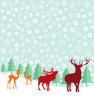 Deer, pine trees and snow. Colorful silhouettes of deer, caribou or elk in a pine forest during a snow storm Royalty Free Stock Photo