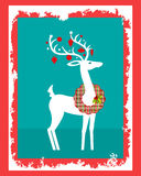 Deer with plaid wreath around his neck. And decorated antlers royalty free illustration