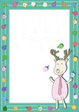 Deer Play Xmas Balls Frame_eps. Character deer playing Christmas balls with frame to write your sample text or photo Stock Photo