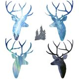 Deer in polar lights. Watercolor silhouette sky royalty free stock photo