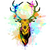 Deer Pop Art Dripping Paint. Colorful Deer's Head Composed by Several Paint Stains and Rainbow Colors Dripping Paint Stock Image
