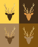 Deer postcards set. Vector minimalist gold deer Merry Christmas postcards royalty free illustration