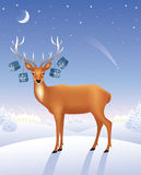 Deer with presents. Royalty Free Stock Images