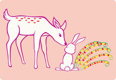 Deer and Rabbit. A deer touching a rabbit chic with flowers growing beside it royalty free illustration