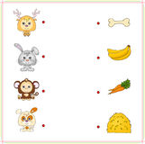 Deer, rabbit, monkey and dog with their food (bone, banana, carr Stock Images