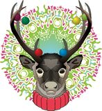 Deer with rainbow background big horns royalty free illustration