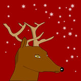 Deer with red background and snowflakes. Cartoon illustration showing a deer with a red background and snow falling Royalty Free Stock Photography