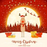 Deer on Red Winter Background with Gifts and Christmas Lights. Happy reindeer with colorful Christmas lights and gifts. Text Merry Christmas and Happy New Year royalty free illustration