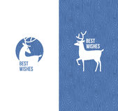 Deer on retro wooden background. Vector illustration Stock Photos
