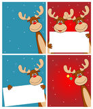 Deer Rudolph. Cartoon reindeer on greeting cards with Christmas Royalty Free Stock Photo