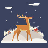 Deer Rudolph Winter Snow Countryside Landscape. City Village Estate New Year Christmas Night and Day Background Modern Flat Design Icon Template Vector Royalty Free Stock Images