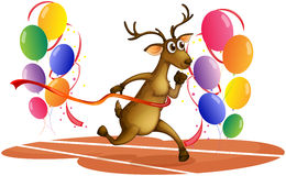 A deer running with balloons Royalty Free Stock Images
