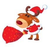 Deer Santa with bag Stock Images