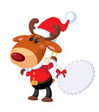 Deer Santa with banner Stock Images