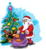 Deer, Santa Claus and Christmas tree Royalty Free Stock Photos